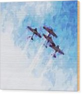 0166 - Air Show - Oil Stain Wood Print