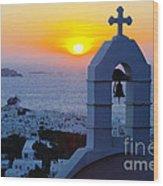 0209 Mykonos Sunset Wood Print
