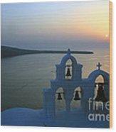0210 Oia Sunset Wood Print