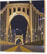 0304 Roberto Clemente Bridge Pittsburgh Wood Print by Steve Sturgill