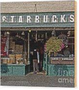 0370 First Starbucks Wood Print