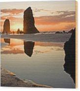 0385 Cannon Beach Reflection Wood Print