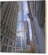0527 Trump Tower From Wrigley Building Courtyard Chicago Wood Print
