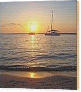 0531 Sailboats At Sunset On Sound Wood Print