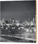 0647 Chicago Black And White Wood Print