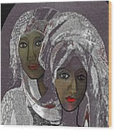 065 - White Veiled Ladies   Wood Print by Irmgard Schoendorf Welch
