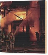 071506-4 Cleveland Firefighters On The Job Wood Print