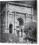 0791 The Arch Of Septimius Severus Black And White Wood Print