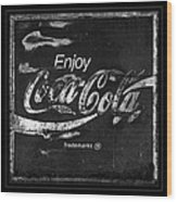 Coca Cola Sign Black And White Wood Print