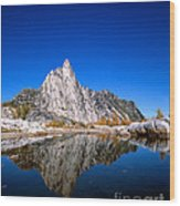 Prusik Peak Reflects In Gnome Tarn Wood Print