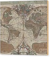 1691 Sanson Map Of The World On Hemisphere Projection Wood Print by Paul Fearn