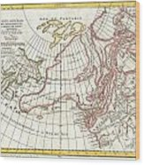 1772 Vaugondy  Diderot Map Of Alaska The Pacific Northwest And The Northwest Passage Wood Print