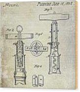 1862 Corkscrew Patent Drawing Wood Print