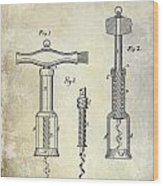 1876 Corkscrew Patent Drawing Wood Print
