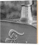 1911 Ford Model T Torpedo 4 Cylinder 25 Hp Hood Ornament  Emblem Wood Print