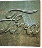 1912 Ford Hood Ornament - Emblem -0496bw Wood Print
