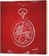 1916 Pocket Watch Patent Red Wood Print