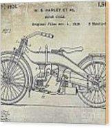 1924 Harley Davidson Motorcycle Patent  Wood Print