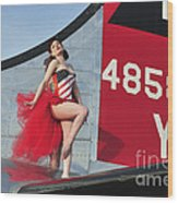 1940s Style Pin-up Girl Standing Wood Print by Christian Kieffer