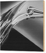 1941 Lincoln Contitnental Convertible Hood Ornament - Grille Emblem -0438bw Wood Print