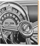 1949 Chrysler Town And Country Convertible Steering Wheel Emblem Wood Print