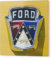 1950 Ford Custom Deluxe Station Wagon Emblem Wood Print