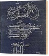 1950 Motorcycle Patent Drawing Blue Wood Print