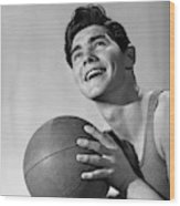 1950s Smiling Boy Holding Basketball Wood Print