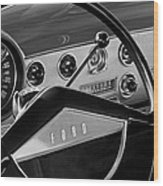 1951 Ford Crestliner Steering Wheel Wood Print by Jill Reger