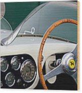 1953 Ferrari 340 Mm Lemans  Spyder Steering Wheel Emblem Wood Print
