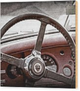 1954 Jaguar Xk120 Roadster Steering Wheel Emblem Wood Print