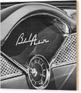 1955 Chevrolet Belair Dashboard Emblem Clock Wood Print