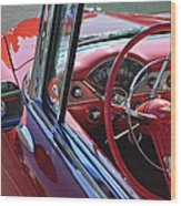 1955 Chevrolet Belair Steering Wheel Wood Print