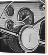 1955 Studebaker President Steering Wheel Emblem Wood Print by Jill Reger