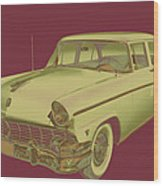 1956 Ford Custom Line Antique Car Pop Art Wood Print