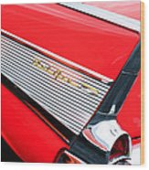 1957 Chevrolet Belair Convertible Taillight Emblem Wood Print