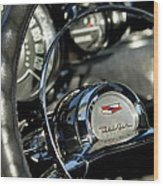 1957 Chevrolet Belair Steering Wheel Wood Print