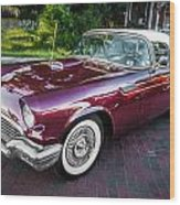 1957 Ford Thunderbird Convertible Painted    Wood Print