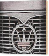 1958 Maserati Hood - Grille Emblem Wood Print