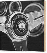 1958 Maserati Steering Wheel Emblem Wood Print