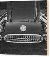 1959 Chevy Corvette Convertible Bw  Wood Print
