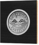 1960 Chevrolet Corvette Roadster Emblem Wood Print by Jill Reger
