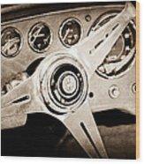 1960 Maserati Steering Wheel Emblem Wood Print