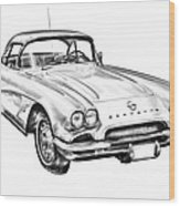 1962 Chevrolet Corvette Illustration Wood Print