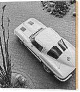 1963 Chevrolet Corvette Split Window -440bw Wood Print