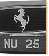 1963 Ferrari 250 Gto Scaglietti Berlinetta Grille Emblem Wood Print