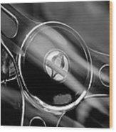 1965 Ford Mustang Cobra Emblem Steering Wheel Wood Print