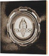 1966 Ford Mustang - Cobra Gt 350 Emblem Wood Print
