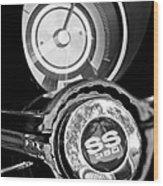 1967 Chevrolet Camaro  Ss Steering Wheel Emblem Emblem Wood Print