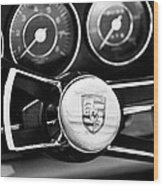 1967 Porsche 911 Coupe Steering Wheel Emblem Wood Print